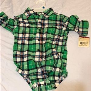 A baby flannel onesie